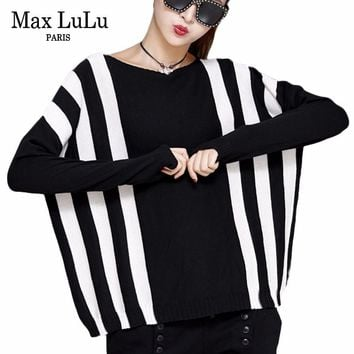 Max LuLu Japan Style Fashion Ladies Casual Jumper Womens Winter Striped Sweaters Knitted Ugly Christmas Pullovers Woman Clothes