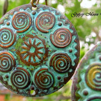 Rustic Spiral earrings with a patina verdigris
