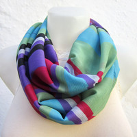 infinity scarf Loop scarf Neckwarmer Necklace scarf Fabric  Chiffon Scarf Green Black Purple Pink