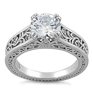A 2CT Round Cut Russian Lab Diamond Filigree Engagement Ring