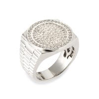 Mens 925 Sterling Silver Simulated Diamond Iced Out Band Bling Ring