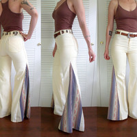70's High Waist Pale Yellow Bell Bottoms Psychedelic Stripe Crochet Lace Pocket Maverick Jeans