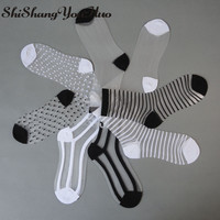 shishangyouhuo 4pcs=2pair/lot Comfy Sheer Silk Summer Ankle Transparent Crystal Lace Women Calcetines Socks Hot Girl Meias CW04