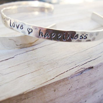 Silver handstamped peace love happiness cuff bracelet uplifting