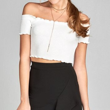 Ladies Short Sleeve Off The Shoulder Crop Top