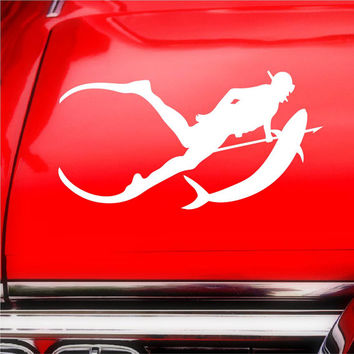 Spearfishing Scuba Diver iPad Car Notebook Decal Sticker