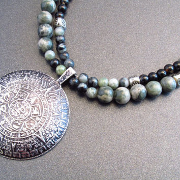 Mayan calendar pendant necklace, gemstone necklace, jade, black agate, jasper,19 inches,green necklace,double stranded necklace,toggle clasp