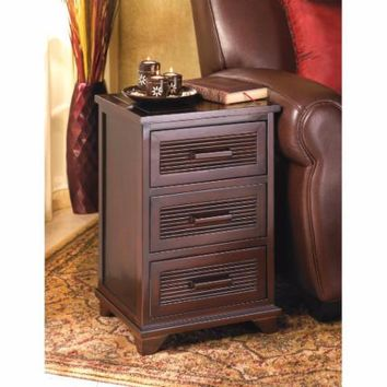 Accent Table-Dark Wood 3 Drawer