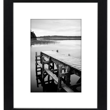 8x10 Black Picture Frame - Made to Display Pictures 5x7 with Mat or 8x10 Without Mat