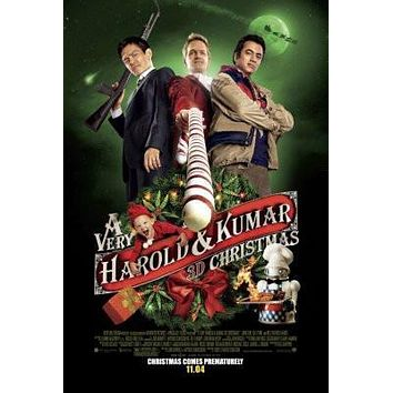 A Very Harold And Kumar 3D Christmas Movie poster Metal Sign Wall Art 8in x 12in