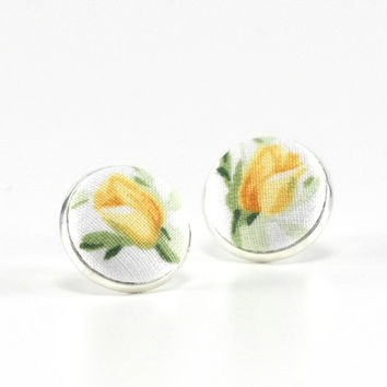 Flower Stud Earrings, Yellow Rosebuds, Yellow Tulips on White, Earring Studs, Floral Fabric Buttons, Silver Toned Jewelry, Bridal, Wedding