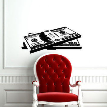 WALL VIINYL STICKER DECAL ART MURAL MONEY  100 BILLS STACKED IN A PILE CO625