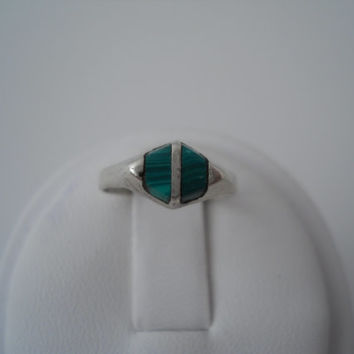 Sterling Silver 925 Double Malachite Ring Size 3.5 Mexico 925