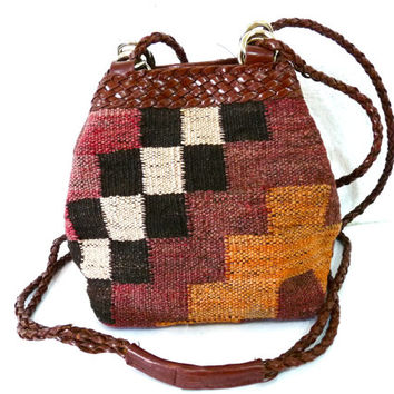 Vintage Kilim Hobo Bag woven Carpet Navajo by L.J. Simone New York Leather Woven Braided Cross-body Shoulder Bag