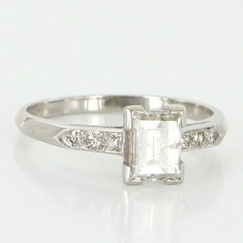 Antique Art Deco Platinum Diamond Engagement Right Hand Ring Vintage Jewelry
