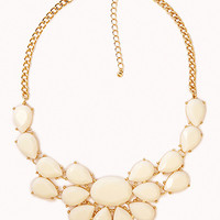 FOREVER 21 Bejeweled Bib Necklace Ivory/Gold One