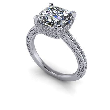 Russian Brilliants Vintage Style Diamond Engagement Ring Setting - Cushion Cut Russian Brilliants Ring