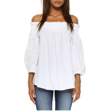 Casual Off Shoulder 3/4 Sleeve Loose Top