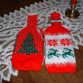 Vintage  Knit Wine Bottle Cozies make Gift Wrapping  easy.  Cover your gift of bottled sunshine in one easy step