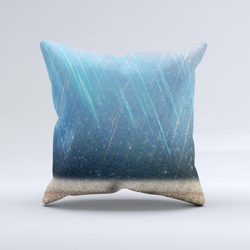 The Strachted Blue and Gold ink-Fuzed Decorative Throw Pillow