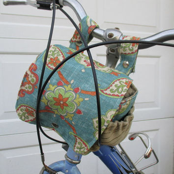 Blue Bike Bag , Bicycle Bag That Converts To A Purse ,  Handlebar Bike Bag ,  Pannier Bag , Bike Basket