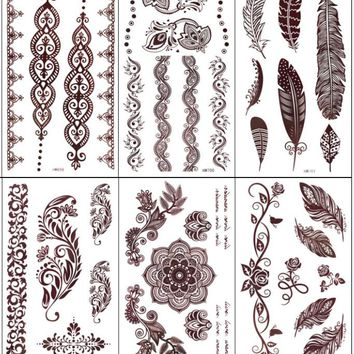 5pcs Brown Henna Tattoo Flower Feather Totem Designs Temporary Tattoo Sticker Body Art  Women Party Tatoo tatuagem tatuaje