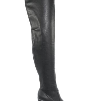 Secret Chunky Block Heel Thigh High Boots - Women Over Knee Faux Leather Boots