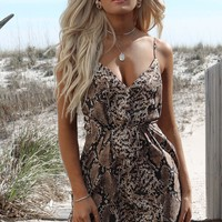 Fast Talk Taupe Python Mini Dress