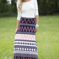 Heartbest Maxi Skirt in Navy and Neon