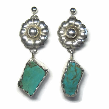 Vintage Southwestern Turquoise Floral Sterling Dangle Earrings