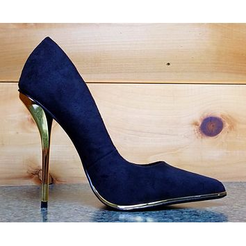 Luichiny Mind Blowing Black FX Suede Pointy Toe High Heel Pump Shoe