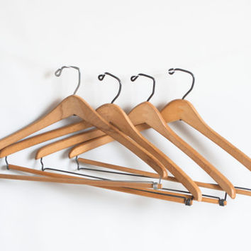 SET of 4- Vintage Wood Store Clothes Hangers, Unfinished Wooden Coat Pants Combination Coat Hanger, Shop Supply