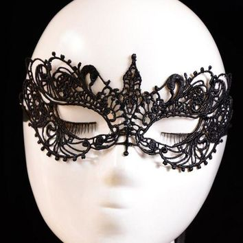 DCCKU7Q 2016 2pcs new Lady Black Lace Floral Eye Mask Venetian Masquerade Fancy Party Dress