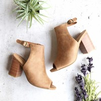 two tone faux suede peep toe ankle strap bootie - tan