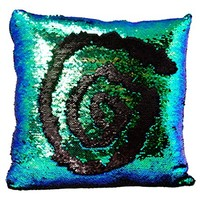 ReLIVE Reversible Sequins Color Changing Mermaid Pillow Case with Matching Throw Pillow Included 45x44cm (Peacock Blue/Green & Black)