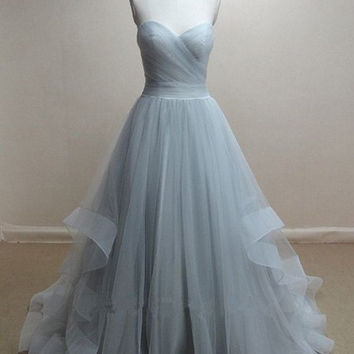 Tulle Prom Dresses, Grey Formal Prom Dress