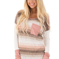Blush Striped Tunic Top with Faux Suede Detail