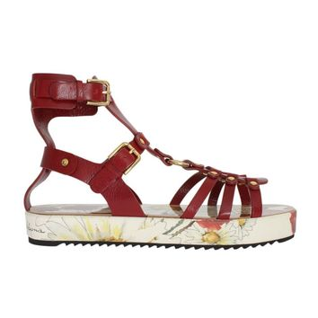 Dolce & Gabbana Red Leather Gladiator Flat Sandals