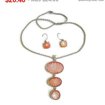 SALE MONET Carved Coral Orange Iridescent Pendant Necklace and Dangle Earrings Vintage 1950's