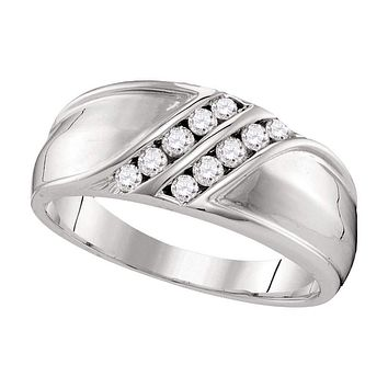 10kt White Gold Men's Round Diamond Double Row Wedding Band Ring 1/3 Cttw - FREE Shipping (US/CAN)