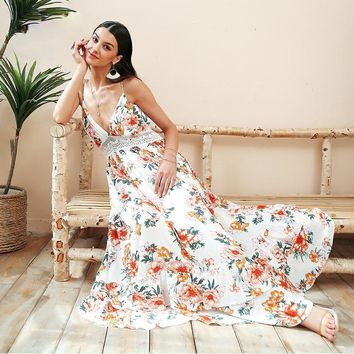 Boho backless deep v lace floral print maxi dress