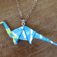 Origami Necklace, Turquoise Dinosaur Necklace, Dino Necklace, Geeky Necklace, Geeky Jewelry, Origami Jewelry, Nerdy Necklace, Cute Fun
