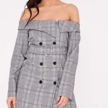 New Grey Plaid Double Breasted Off Shoulder Long Sleeve Turndown Collar Casual Fashion Mini Wool Dress