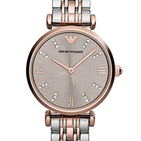 Emporio Armani Crystal Marker Two-Tone Bracelet Watch, 31mm - Silver/ Rose Gold