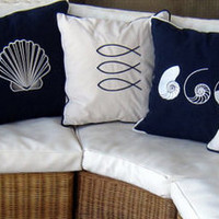 THREE SHELLS indooroutdoorembroidered by letsdecorateonline