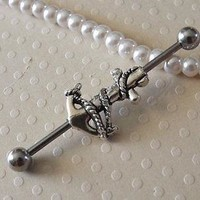 Anchor Silver Industrial Barbell 14ga Body Jewelry Ear Jewelry Industrial