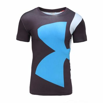 Armour UA Men Brand Fitness T Shirt Mens Marvel Superhero Deadpool Male Quick Dry Bodybuilding Crossfit Tops Anime Under 3d Tees