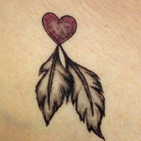 2 hand drawn heart and feathers Temporary Tattoo