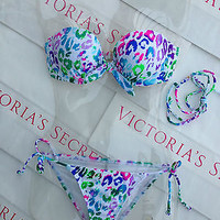 New Sexy Victoria's Secret Gorgeous Push Up Bikini top 34C Leona Animal Print
