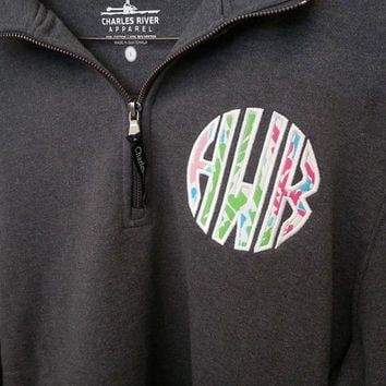 Sweatshirt Quarter Zip Lilly Pulitzer Monogram Applique  Font Natural Circle in Let's Cha Cha shown with white thread